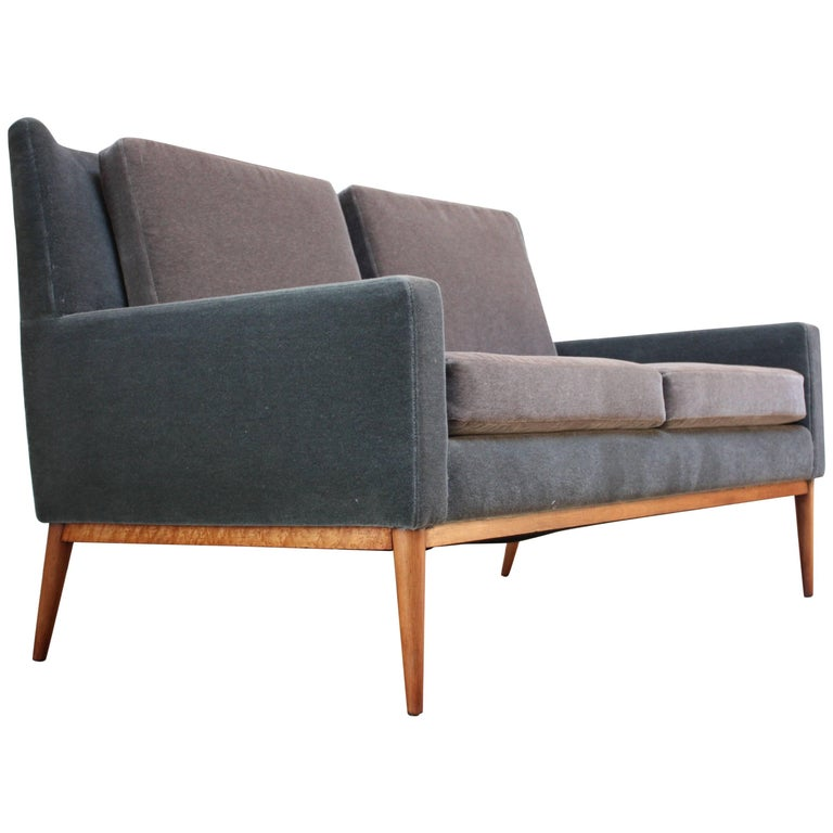 Paul McCobb for Directional Settee in Maple and Mohair