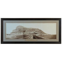 Large Albumen Photograph Panorama of the Rock of Gibraltar, circa 1870
