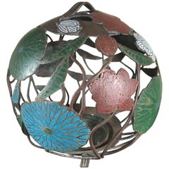 "Japanese Big Bold Antique Lantern ""Organic Orb"" Form with Fine Enameled Details"