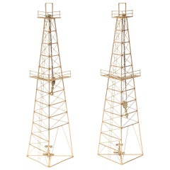 Pair of Vintage Gilded Metal Oil Rig Tower Sculptures or Wall Sculptures