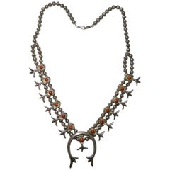 Native American Indian Fine Vintage Navajo Squash Blossom Necklace