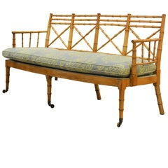 Fine English Regency Period Faux Bamboo Settee or Bench with Upholstered Seat