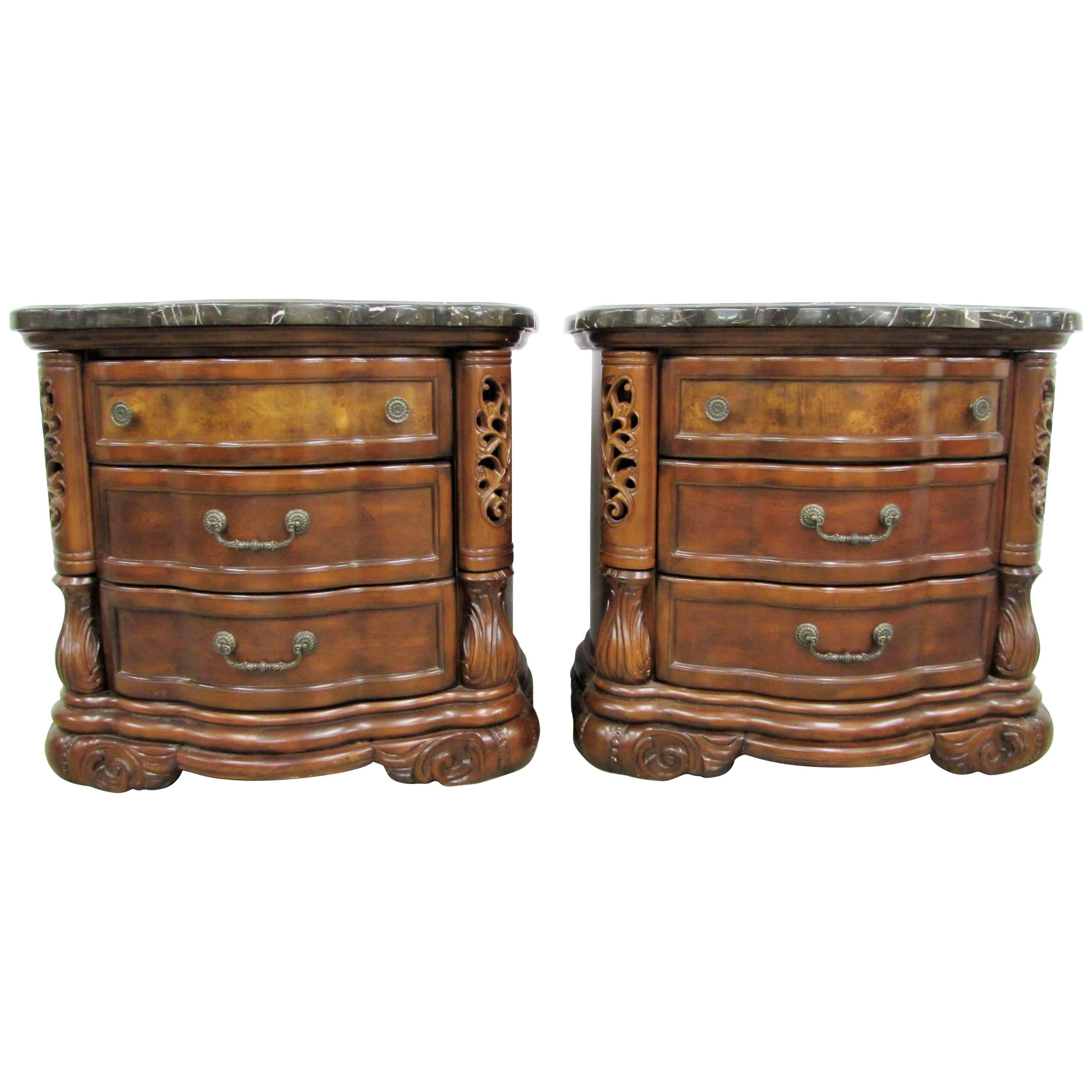 Pair Of Michael Amini Bedside Chests With Tessellated Marble For Sale