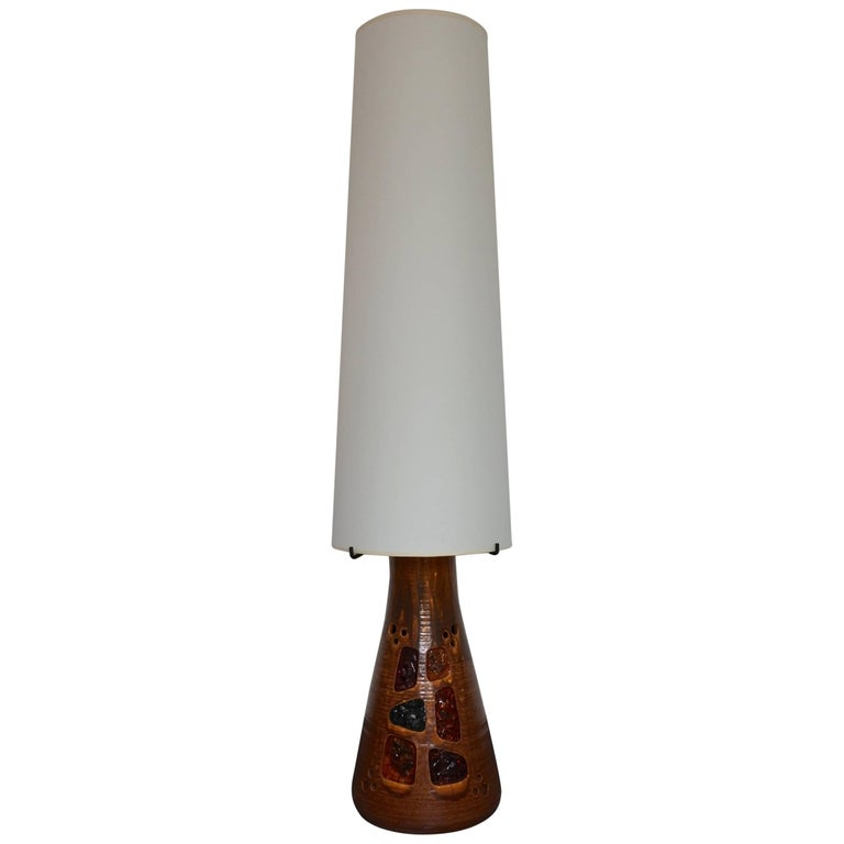 Accolay Midcentury Large Ceramic Floor Lamp France 1960s For Sale