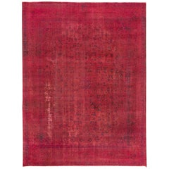 Vintage Pink Distressed Overdyed Rug, 9.06x12.06