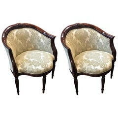 Pair of William IV Style Mahogany Inlaid Barrel Chairs