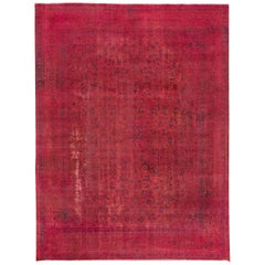 Vintage Pink Distressed Overdyed Rug, 9.03x12.04