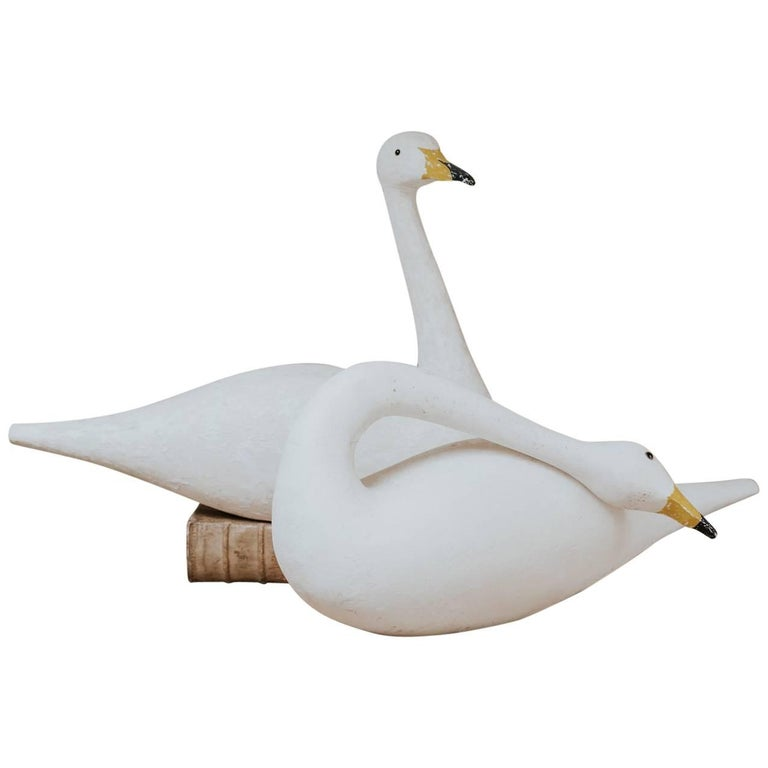 Pair of Wooden Decoy Swans For Sale