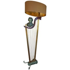 French 1950s Art Deco Style Brass Harp & Beethoven Bust Floor Lamp by G. LeRoux