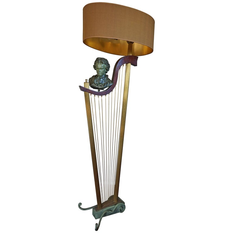 French 1950s Art Deco Style Brass Harp & Beethoven Bust Floor Lamp by G. LeRoux For Sale