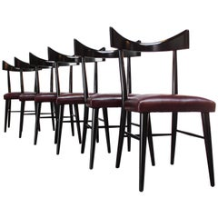 Set of Six Ebonized Curved-Back Dining Chairs by Paul McCobb for Planner Group