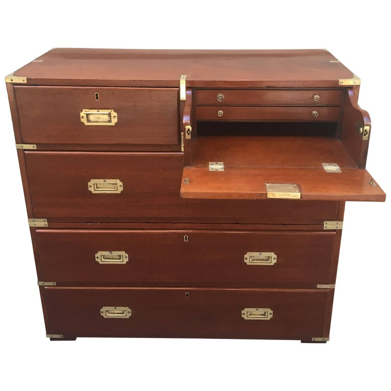 Regency Brass-Mounted Mahogany Secrétaire Campaign Chest