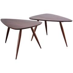 Pair of Phillip Lloyd Powell Sculptural Side Tables in Black Walnut