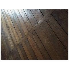 French Antique Flooring Wood Oak, Original Floor, 18th Century