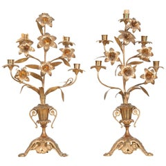 Pair of French 19th Century Brass Altar Candelabras