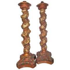 Pair of Carved Polychromed Italian Solomonic Columns Mounted as Lamps