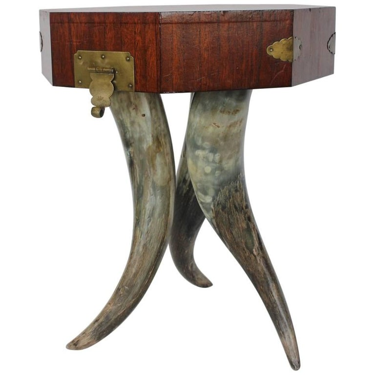 Antique Accent Horn Table