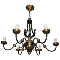 Rare French 1940s Wrought Iron Chandelier Attributed to Gilbert Poillerat