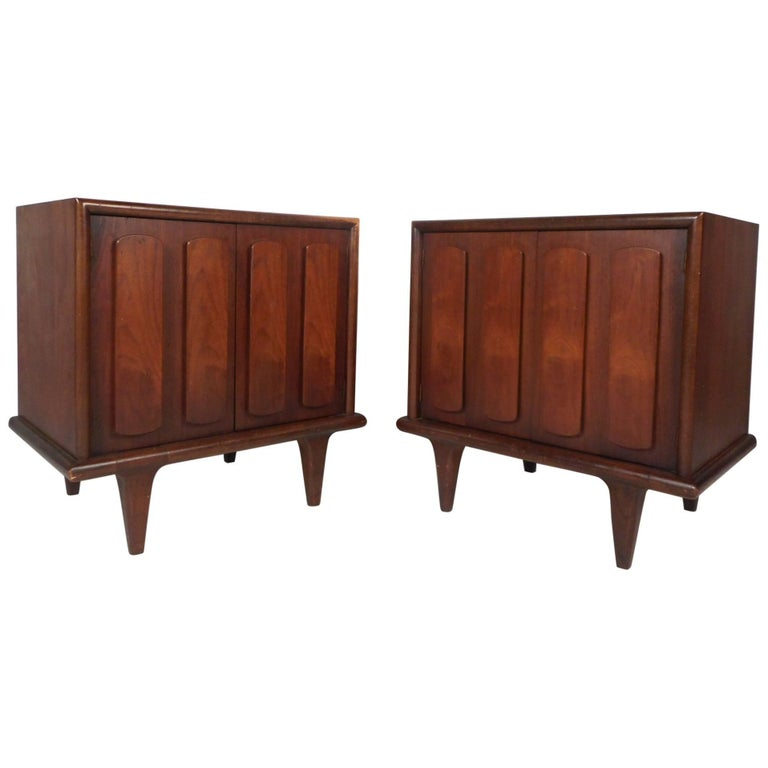 Pair of Walnut Nightstands by American of Martinsville