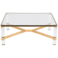 Karl Springer Lucite, Brass, and Glass Coffee Table