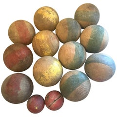 Set of 14 French Antique Hand-Carved Painted Wooden Boules