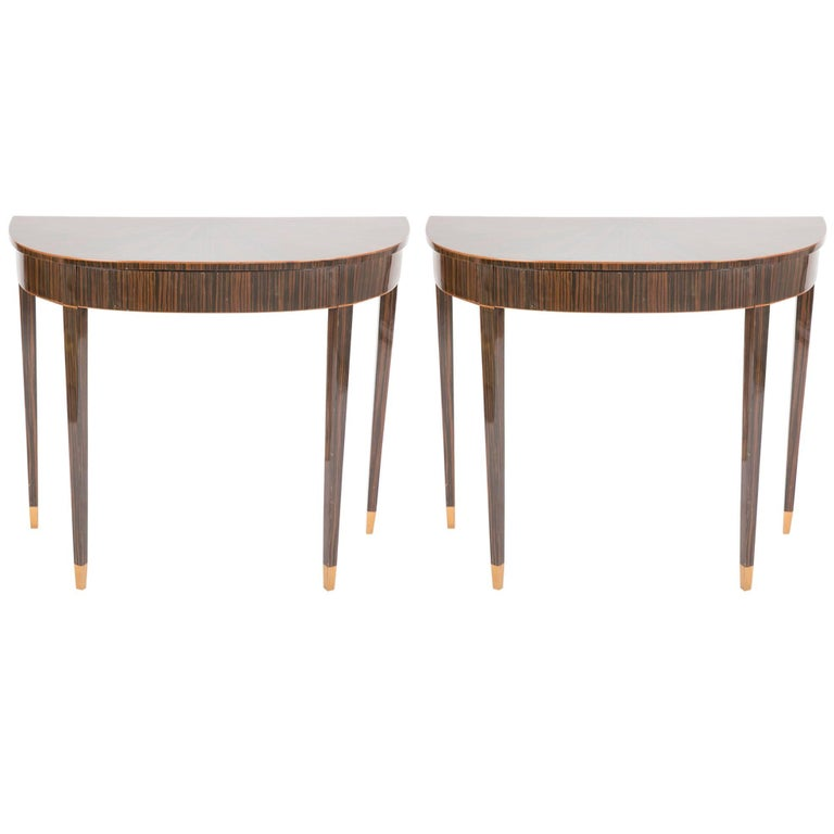 Pair of Art Deco Macassar Ebony Demilune Tables with Maple Tipped Feet