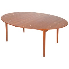 """Judas"" Dining Table in Teak with Sterling Silver Inlay by Finn Juhl"