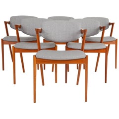 Set of Six Model 42 Teak Dining Chairs by Kai Kristiansen for Schou Andersen