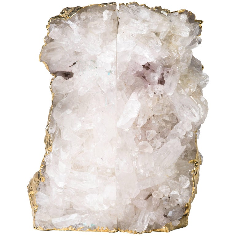Pair of Exquisite Rock Crystal Quartz Bookends Wrapped in 24-Karat Gold