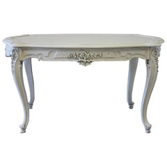 Early 20th Century Painted French Louis XV Style Carved Salon Table Desk