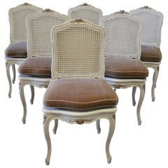Six Early 20th Century Painted French Louis XV Style Cane Back Dining Chairs