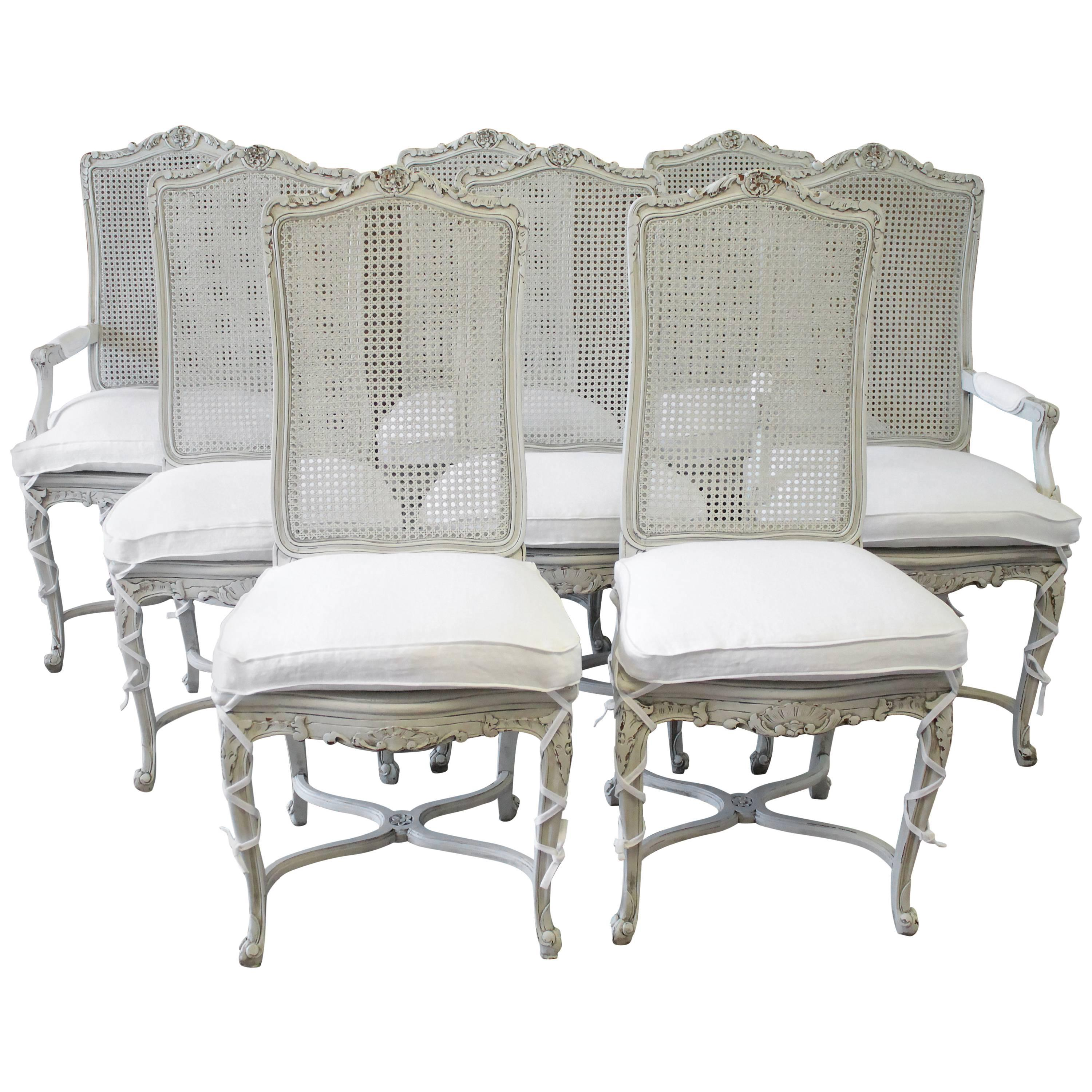 20th Century Painted Louis XV Style Cane Back Dining Chairs With Linen  Cushions