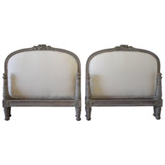 19th Century Pair of Twin Size Upholstered French Louis XVI Style Painted Beds