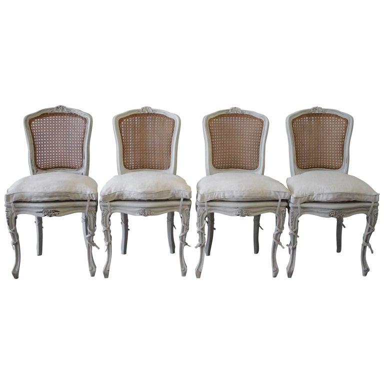 19th Century Set Of Four Antique French Louis Xv Style Cane Back Dining Chairs For