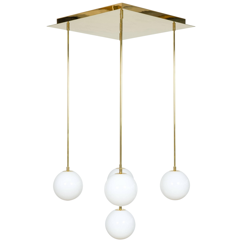 Flush Mount White spheres in Blown Murano Glass Brass Frame contemporary Italy