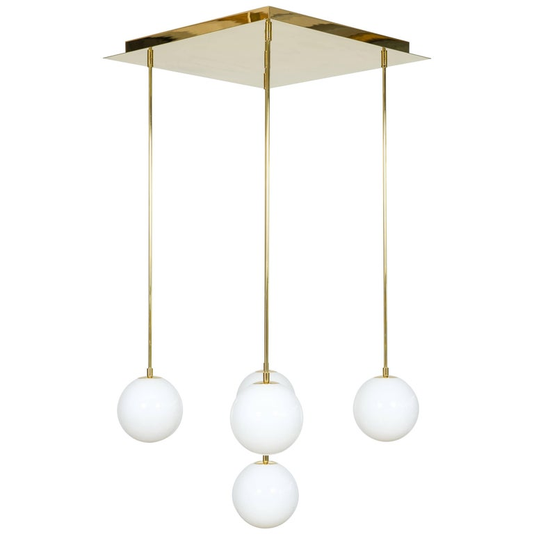 Handcrafted Italian Venetian Chandelier Spheres in White Murano Glass and Gold