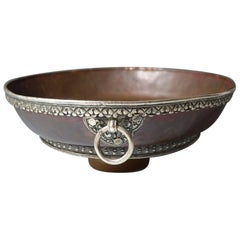 Fine Antique Bhutanese Copper Bowl with Silver Detail