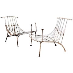 Rare Iron Lounge Chairs by Russell Woodard