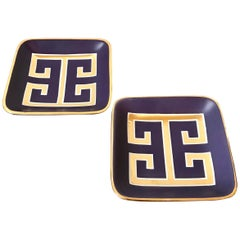 Pair of Waylande Gregory Small Square Purple Ceramic Trays with Gold Key Pattern