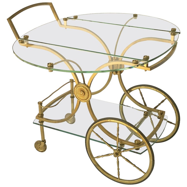 French Drinks Cart of Brass and Glass by Maison Charles