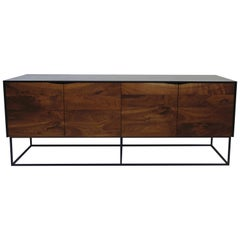 Handcrafted Classic Modern Credenza of Select Ash and Walnut with Steel Base