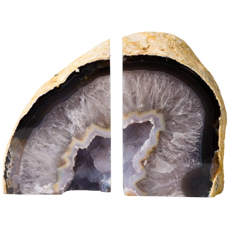 Pair of Large Agate Stone and Quartz Crystal Bookends