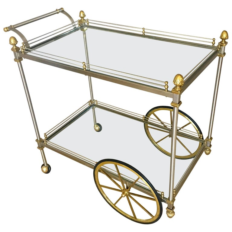 Large Italian Neoclassic Brass and Brushed Steel Bar or Tea Cart For Sale
