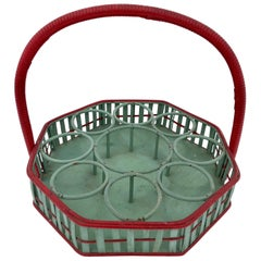 Mid-1900s Octagonal Wicker Carrying Basket Eight Glasses One Bottle, Green/Red