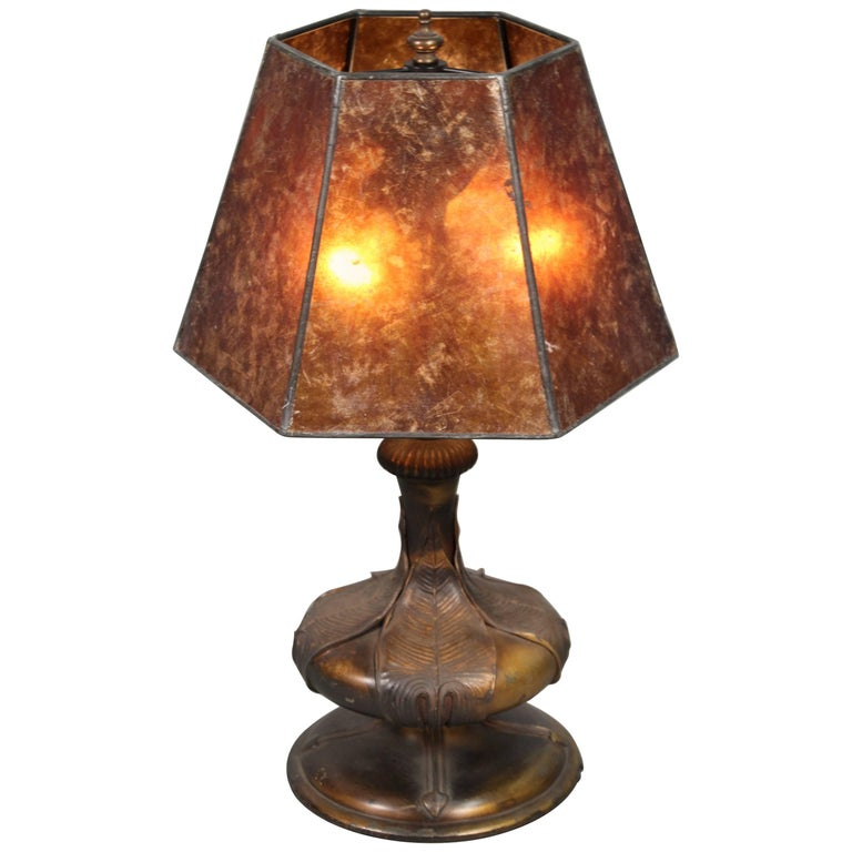 1920s Table Lamp With New Mica Shade For