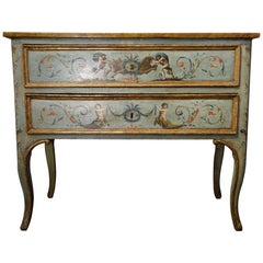 Unique Italian 18th Century Hand Painted Louis XV Cassone Commode Marchigiano