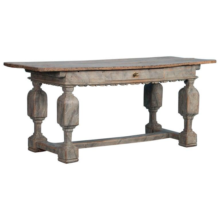 Painted Antique Danish Baroque Oak Farm Table