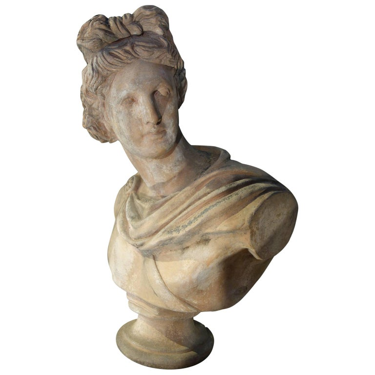 19th Century Renaissance Style Old Impruneta Terracotta Diana Bust from Florence