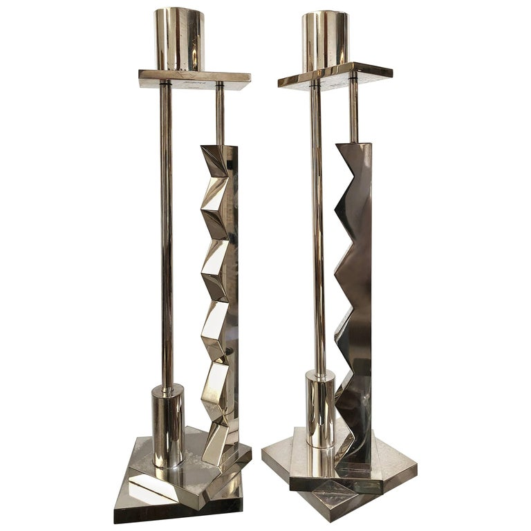 Pair of Candlesticks by Ettore Sottsass for Swid Powell, Signed For Sale