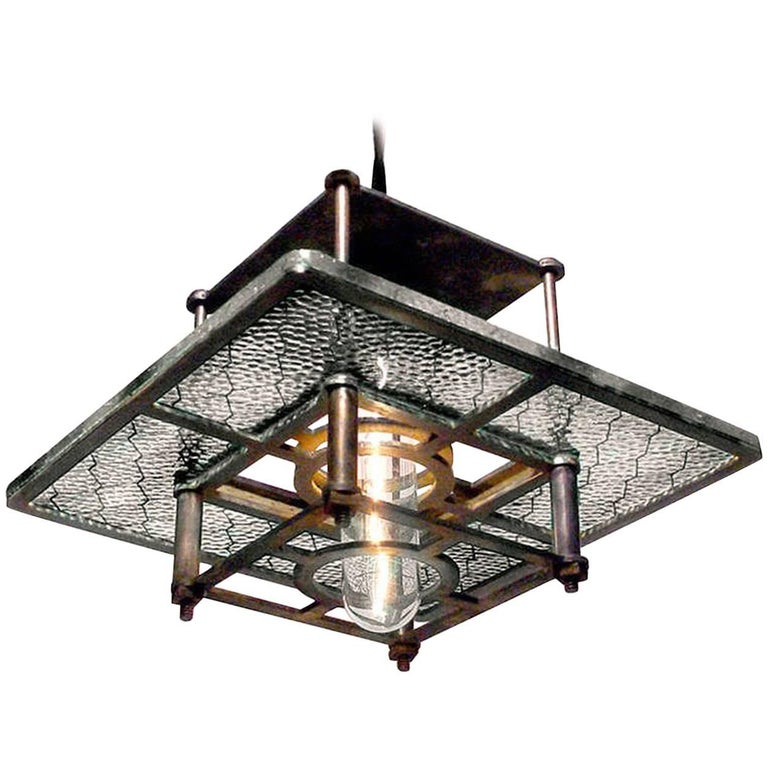 Skeletal Industrial Wire Glass Pendent Lamps